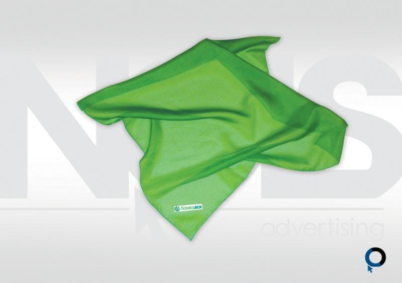 рекламни фирмени шалове, печат върху плат, брандиране на текстил, корпоративни работни шалове